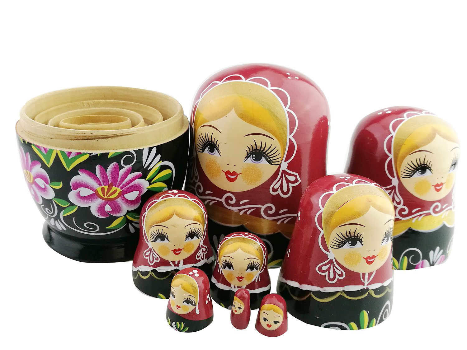 Unigift Cute Red and Black Blonde Little Girl with Pink Flower Handmade Wooden Russian Nesting Dolls Matryoshka Dolls Set 8 Pieces for Kids Toy Home Decoration