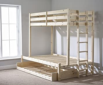 Triple Sleeper Bunk Bed With Trundle 4ft 6 Double Three Sleeper