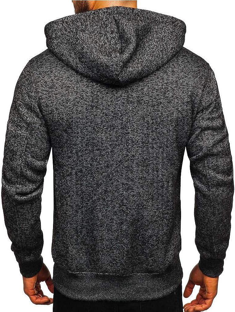 Men Fashion Winter Simple Cap with Long Sleeve Zip Sweater Tops Blouse Hoodie Sweatshirt Tops Blouse