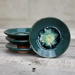 product image for Geode Ring Dish in Blue Green, Individual Geode Ring Dish, Fused Glass Dish, Trinket Dish, Soap Dish, Crackle Glass, Candle Holder, Dock 6 Pottery, Kerry Brooks Pottery