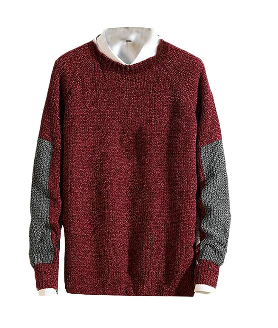 Blyent Men Trendy Color Block Knitted Pullover Crew Neck Jumper Sweaters