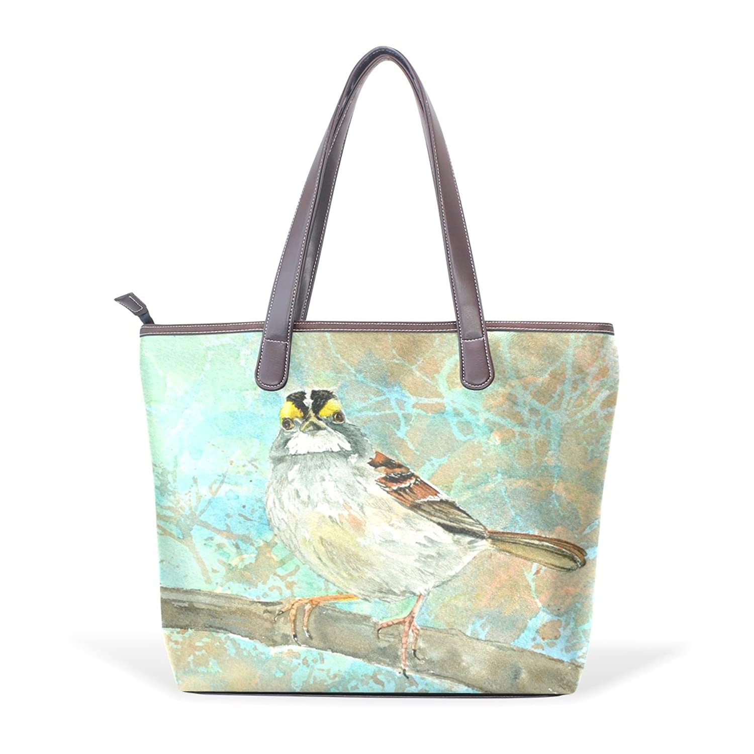 TJDY Store Watercolor Songbirds Grey PU Leather Handbags Tote Bag Zip Bag Shopping Bag for Woman's