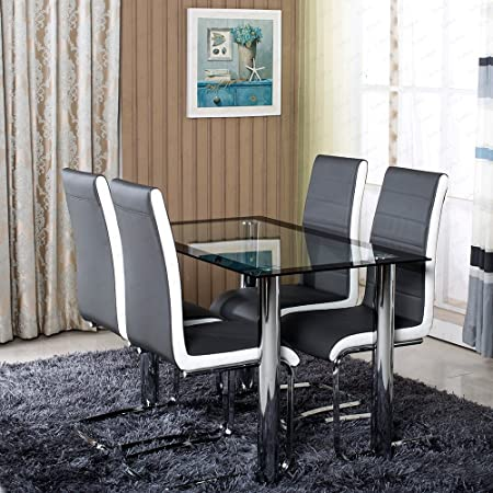 SchindoraR Dining Room Set 4 Faux Leather Chairs With Chrome Legs And 1 Glass Table
