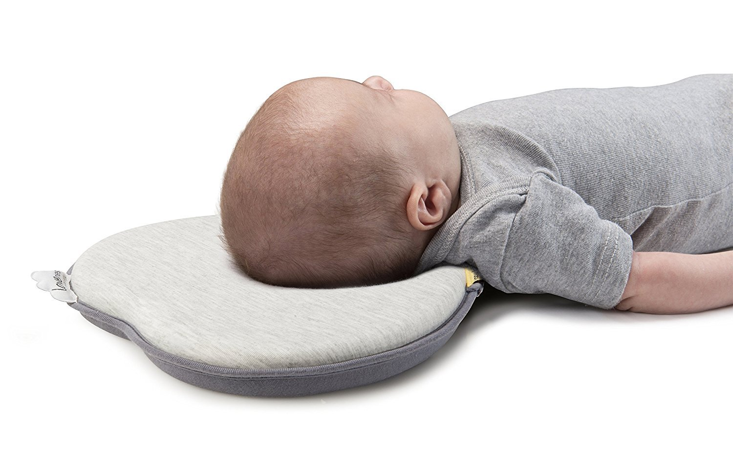 Baby Head Shaping Pillow for Newborn AiKiddo Breathable Memory Foam Pillow for Sleeping Head back Infant Protective Pillow with Organic Cotton Pillowcase-Prevents Flat Head Syndrome or Plagiocephaly green purple