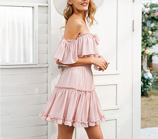 Halter Off Shoulder Ruffle Backless high Waist Chiffon Dress Casual Short Vestidos at Amazon Womens Clothing store: