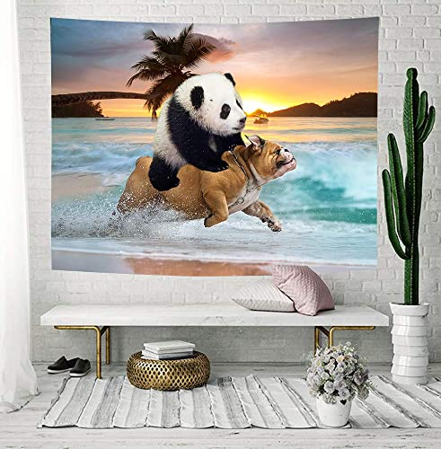 NYMB Funny Animals Tapestry, Hippie Style Cool Panda Ride Pug Dog Running in Beach Tapestries, Tapestry Wall Hanging Art for Bedroom Living Room Dorm Home, 80X60 Inches, Bohemian