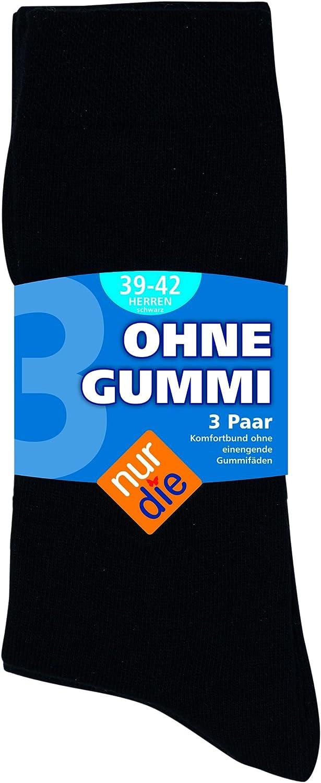 Comfortbund ohne einschneidenden Gummibund Gr/ö/ßen 39-42 oder 43-46 3 Paar Herren Comfort Kniestr/ümpfe