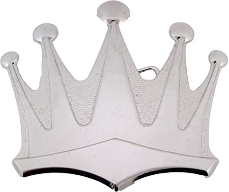 Silver Royal Crown Belt Buckle King Queen