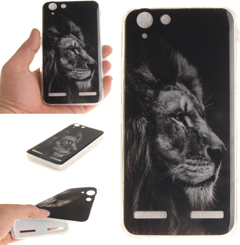 Guran® Silicona Funda Carcasa para Lenovo K5 Smartphone Case Bumper Shock TPU Cover-León negro: Amazon.es: Electrónica