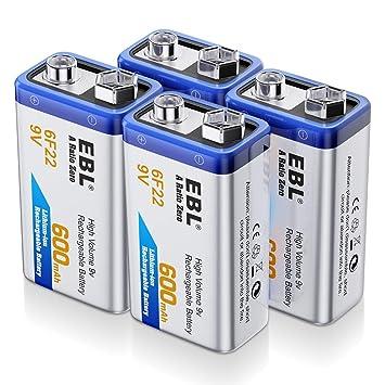 EBL 4 Unidades Alta Capacidad de 9V 600mAh Li-ion Batería ...