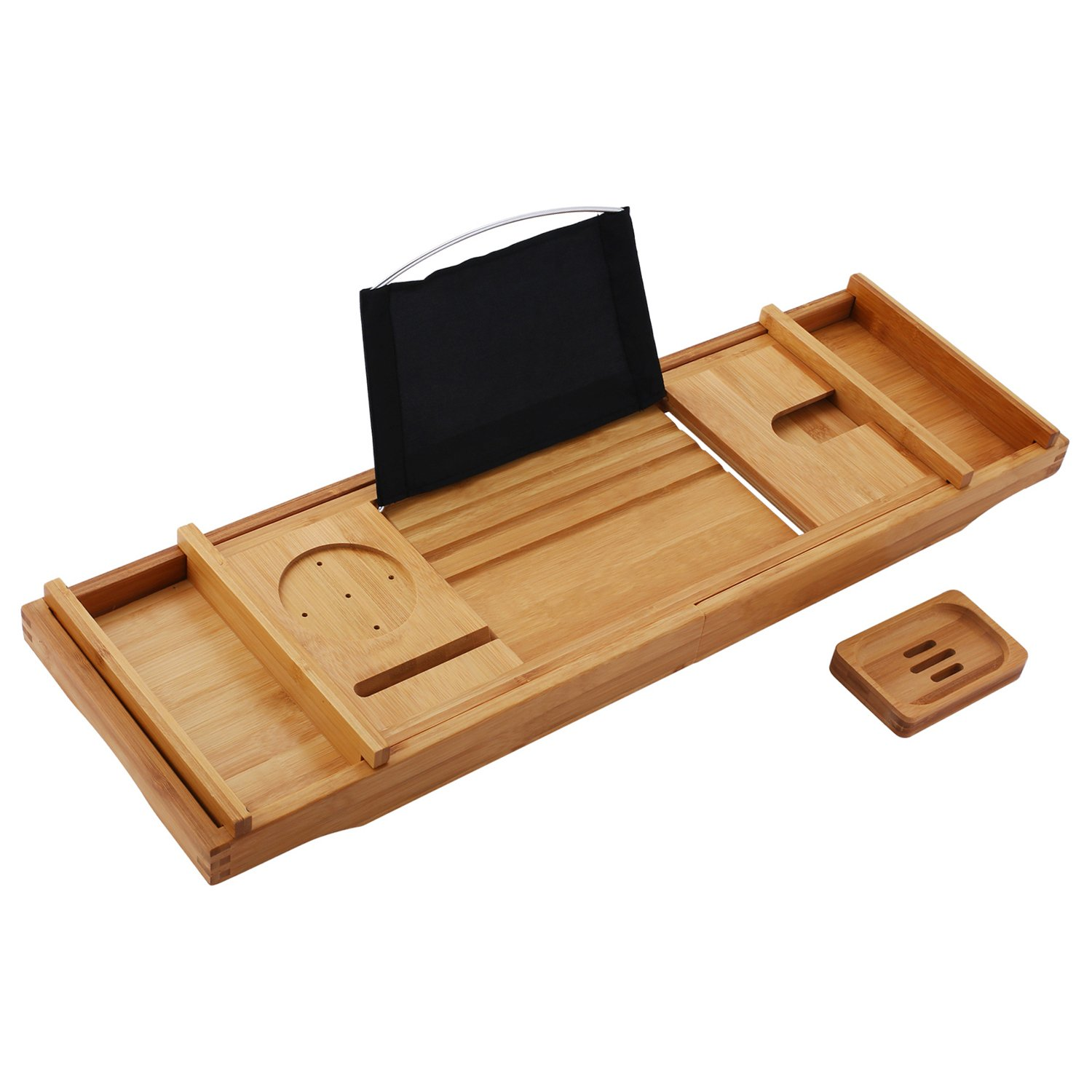 Bath Tray for Tub, Adjustable Wood Bamboo Bathtub Caddy Tray Organizer with Extending Sides - Waterproof Book and Tablet Holder, Wine/Candle/Phone Holder and Free Soap Dish (US Stock)