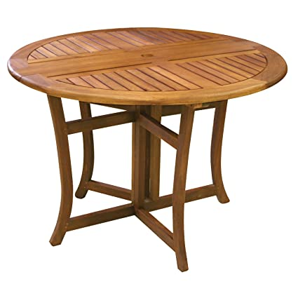 Attrayant Eucalyptus 43 Inch Round Folding Deck Table