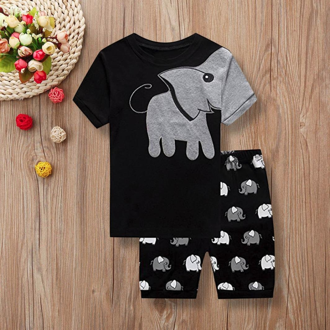 DIGOOD for 1-6 Years Old,Teen Toddler Baby Boys Elephant T-Shirt+Shorts,Kids 2Pcs Cartoon Outfits Clothes Sets