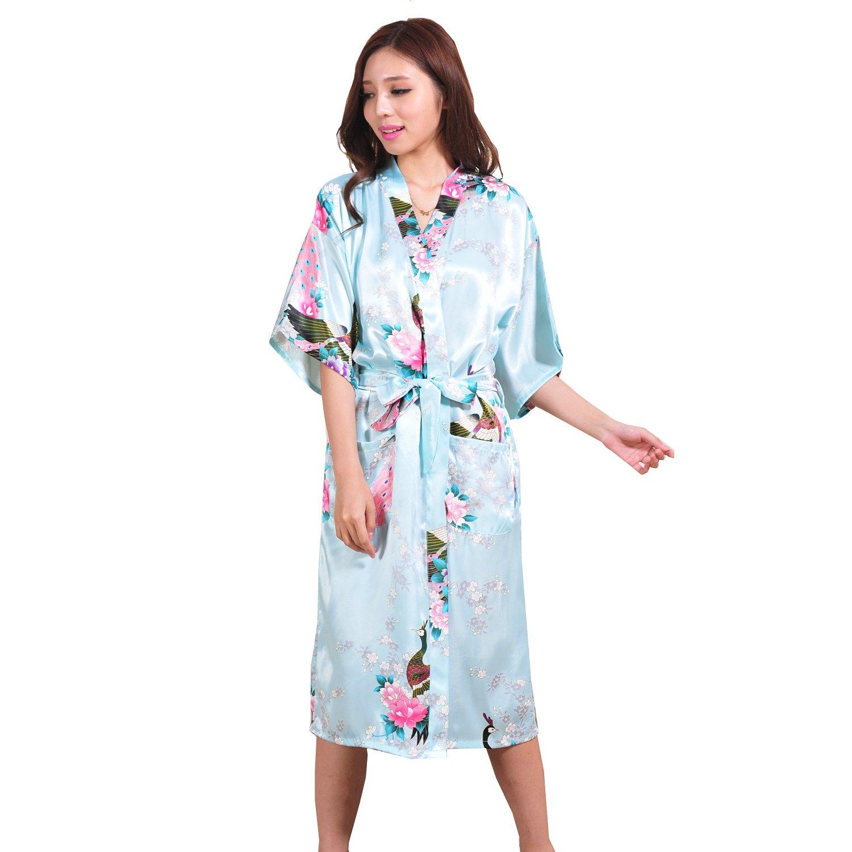 Must Rose Women Long Kimino Robe Peacork Satin Nightwear Peacork &Blossoms(Large, Light Blue)