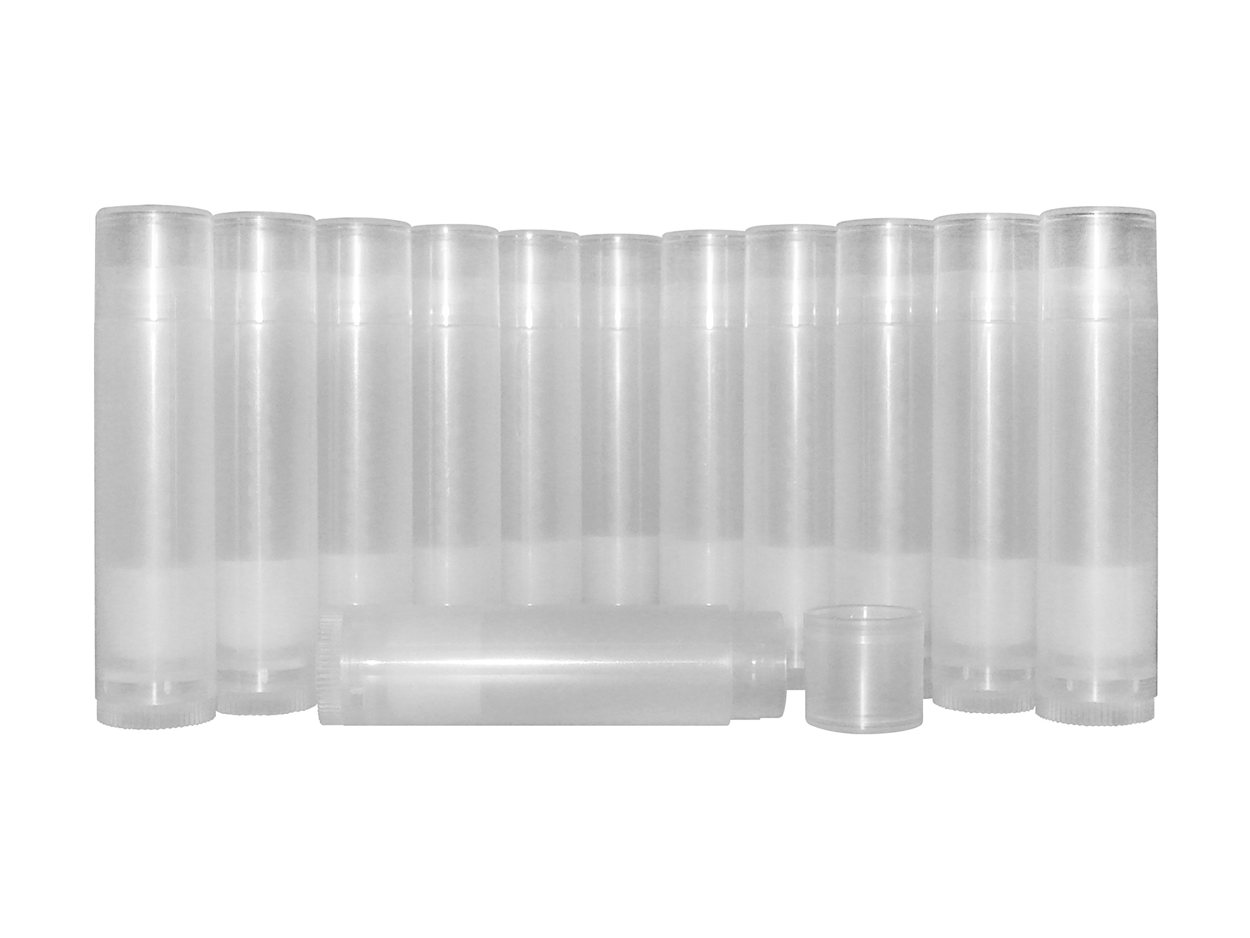 DIY Natural Products Empty Lip Balm Container Tubes, Clear (Pack of 50)