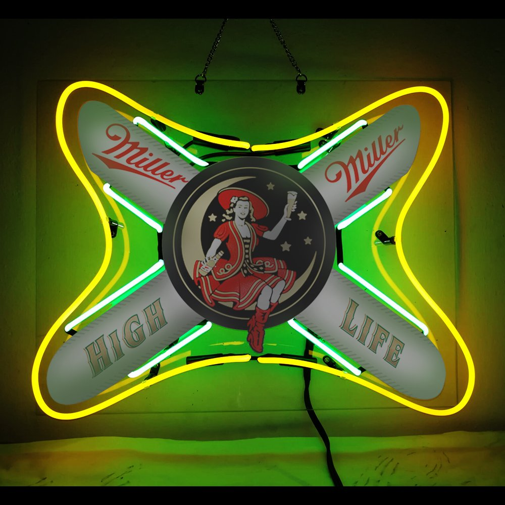 Neon Signs Miller High Life Beer Bar Pub Store Party Recreation Room Decor 19X15