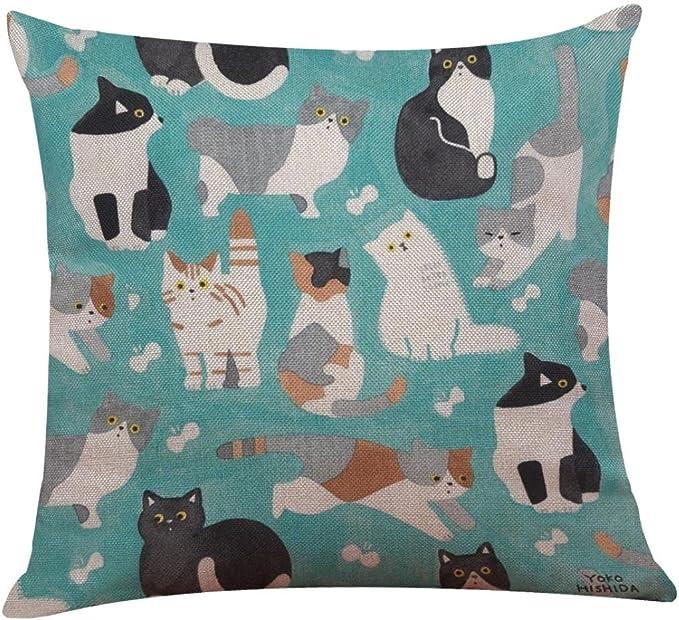 Cute Black Cat Square Pillow Case Bed Sofa Waist Throw Cushion Cover Home Decor