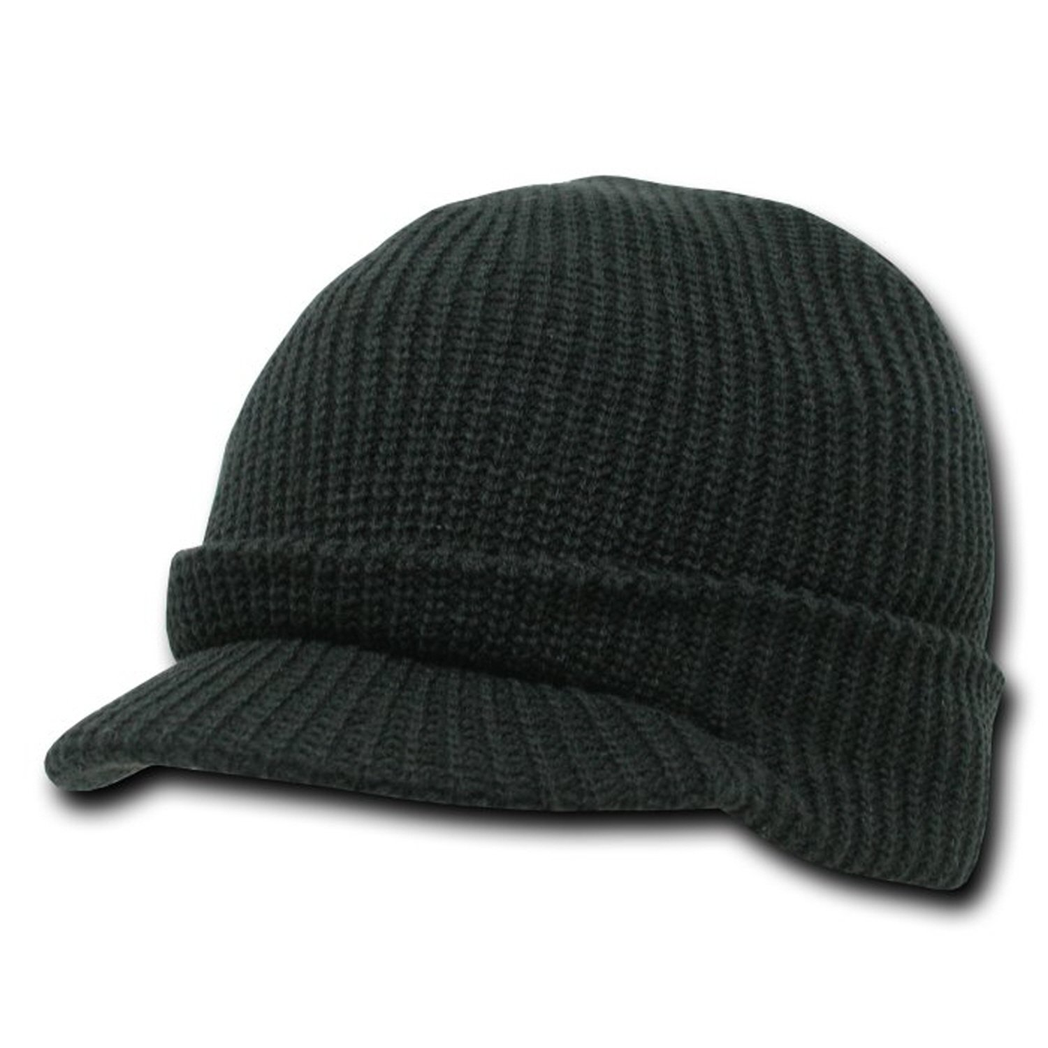 Amazon.com   Black Visor Beanie Knit Jeep Cap Hat   Cold Weather Hats    Sports   Outdoors 7a06194f95bf