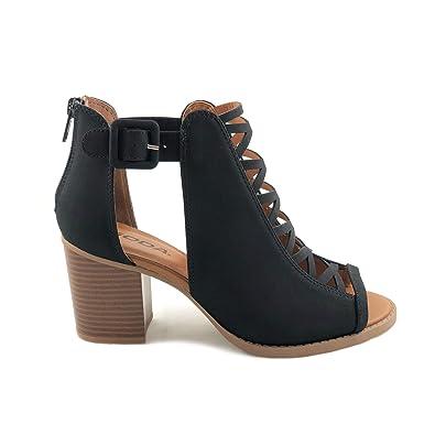 682f5f28f5db SODA Womens Fahsoin Aran Open Toe Heel Sandal Black 5.5