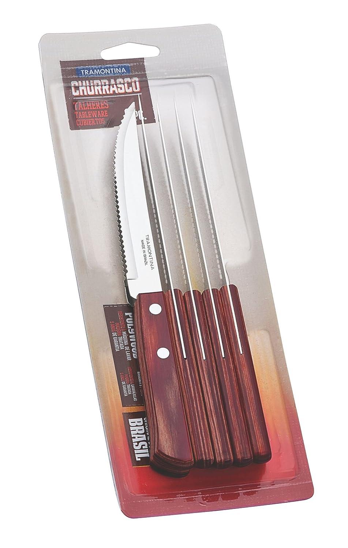 Tramontina Juego de Cuchillos 6 Unidades, Color Negro Claro, Acero Inoxidable, Rojo, 30 x 30 x 30 cm