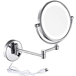 GURUN 8 Inches LED Lighted Wall Mount Makeup Mirror with 7x Magnification, Double Sided 360 Degree Swivel Chrome Finish,Plug Powered (IBOSD,7x)