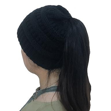 Messy Bun Beanie Hat Ponytail Hat Crochet Pony Beanie Hat Knit Winter Hat  Women 157cc0630ba