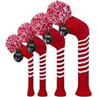 Scott Edward Dark Color Yarn Knitted Golf Club Head Covers Set of 4, Fit for Driver Wood(460cc), Fairway Wood,and Hybrid…
