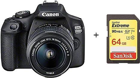 Cámara Canon EOS 2000D DSLR y EF-S 18-55 mm f/3.5-5.6 IS II con ...