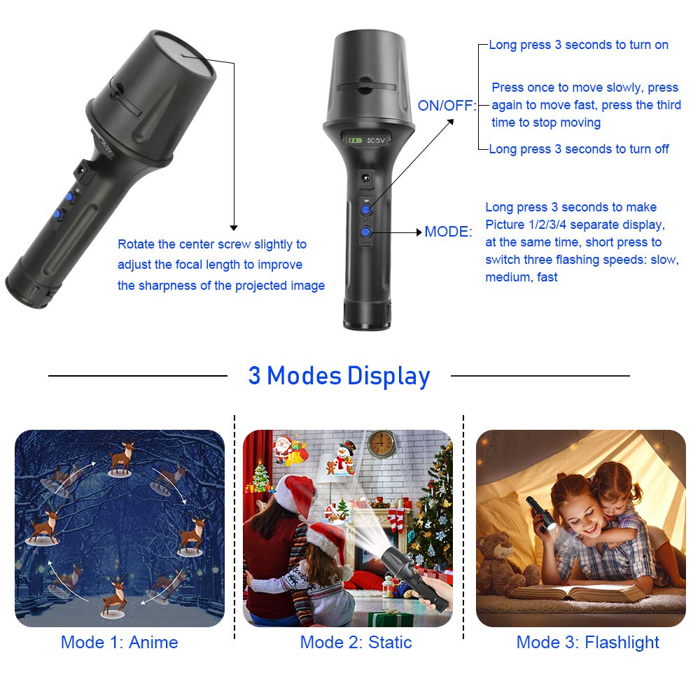 Elec3 Christmas Halloween Projector Light for Lighting Decorations (5W Projection Flashlight) by Elec3 (Image #5)