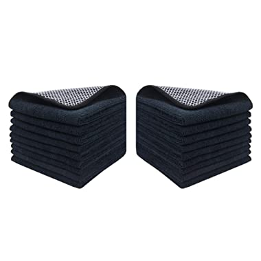 KinHwa Microfiber Dish Cloths Super Absorbent Kitchen Wash Cloth Dish Rags for Washing Dishes Fast Drying Cleaning Cloth with Scrub Side (Blackx18, 12inchx12inch)