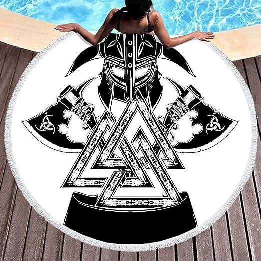 Moderna manta de playa vikinga, diseño de casco, tatuaje ...