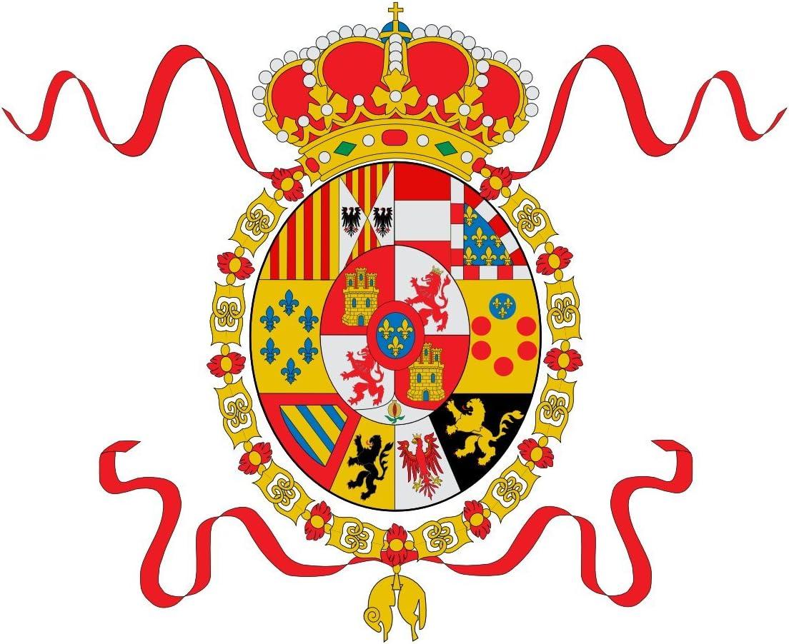 magFlags Bandera Large Pabellón de la Armada de España Durante la Primera Parte del reinado de Carlos III | Bandera Paisaje | 1.35m² | 90x150cm: Amazon.es: Jardín