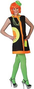 Disfraz años 60 negro y fluo mujer L: Amazon.es: Juguetes y juegos