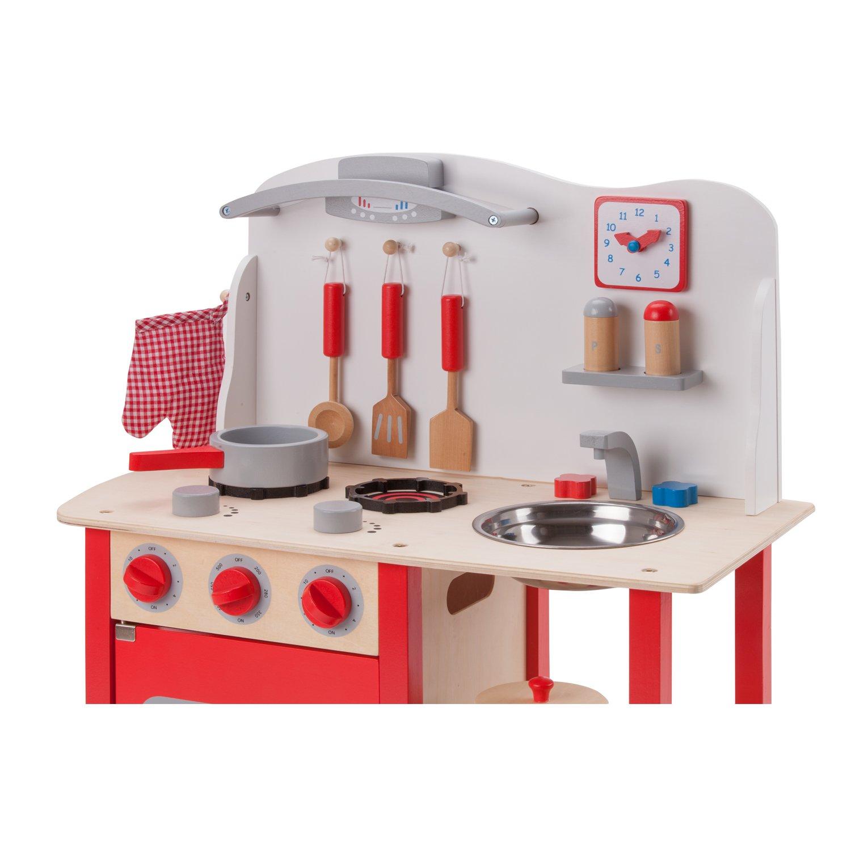 New Classic Toys Toys-11055 Kitchenette - Bon Appetit - Red, Color Rojo (Ref 1055)