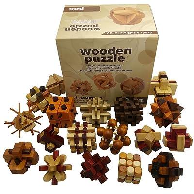 Joyeee 18 Piezas Cubo 3D Rompecabezas de Madera Juego Puzle #2 - Desafiar su Pensamiento lógico - Ideal Regalo y Decoración: Juguetes y juegos
