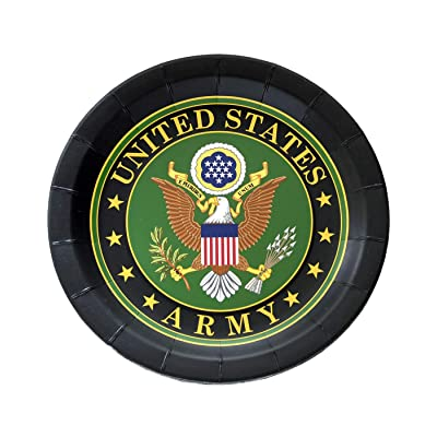 "US Army Party Plate (9"" Round Plates, Official Army Crest, 8 Pack) U.S. Army Party Collection by Havercamp: Toys & Games"
