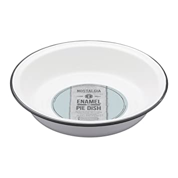 Kitchen Craft 22,5 x 4 cm Living Nostalgia Bandeja para Tarta de Esmalte, Blanco/Gris: Amazon.es: Hogar