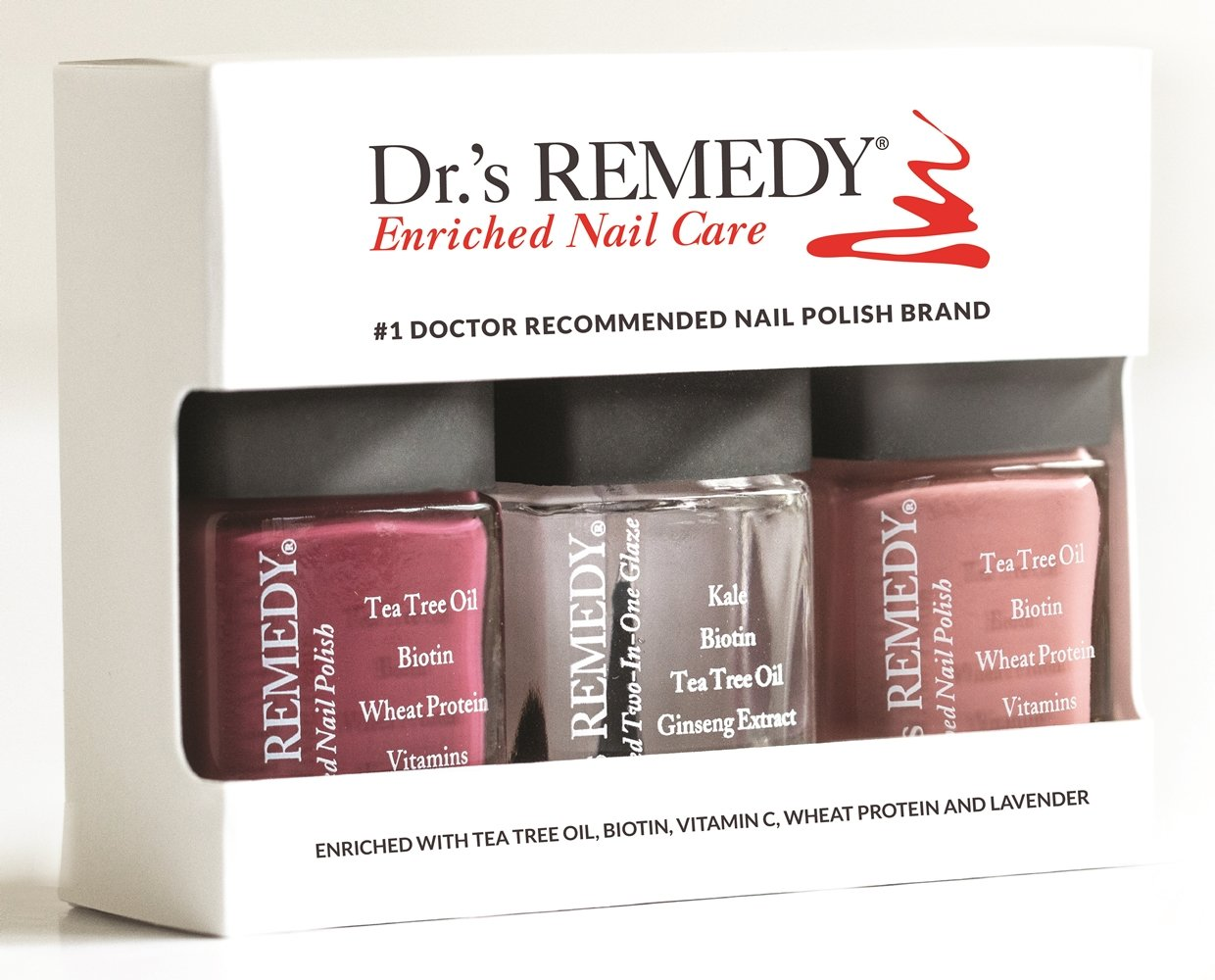 Dr.'s REMEDY Enriched Nail Polish, ANNIVERSARY 3Piece Boxed Set, Brave Berry/Resilient Rose