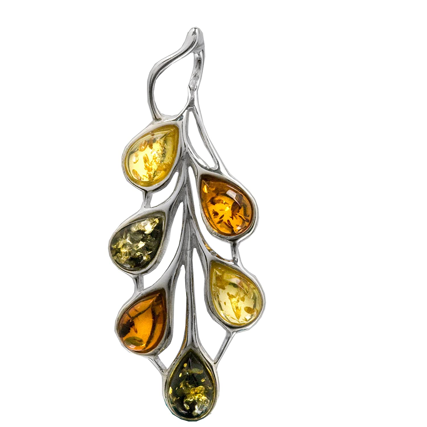 Multicolor Amber Sterling Silver Feather Sunbird Magnificent Slider Pendant