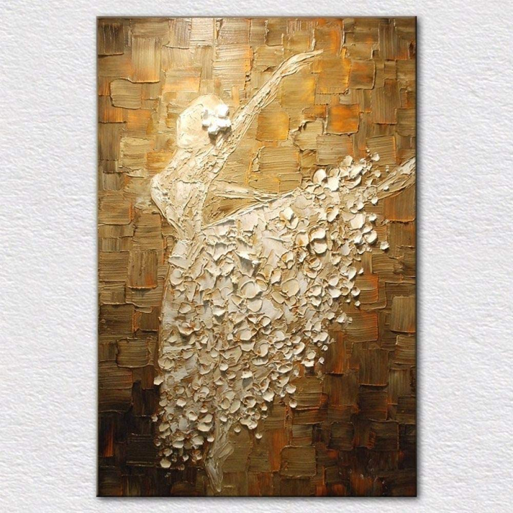 KMAOMAOYHYH Hand Painted Oil Painting On Canvas,Ballet Dancer Pattern Design Nordic Paintings Posters Wall Art Pictures Modern Decor for Living Room Corridor Bedroom Decor 36X72Inch No Frame
