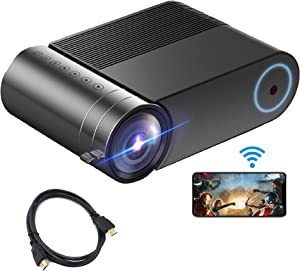 """Mini WiFi Projector, Portable Full HD Phone Projector,Wireless Theater Projector 1080P 200"""" Display Outdoor Movie Projector, 3800 Lux 50,000 Hrs Led Cinema Projector, for Fire Stick, PS4, Smart Phone"""