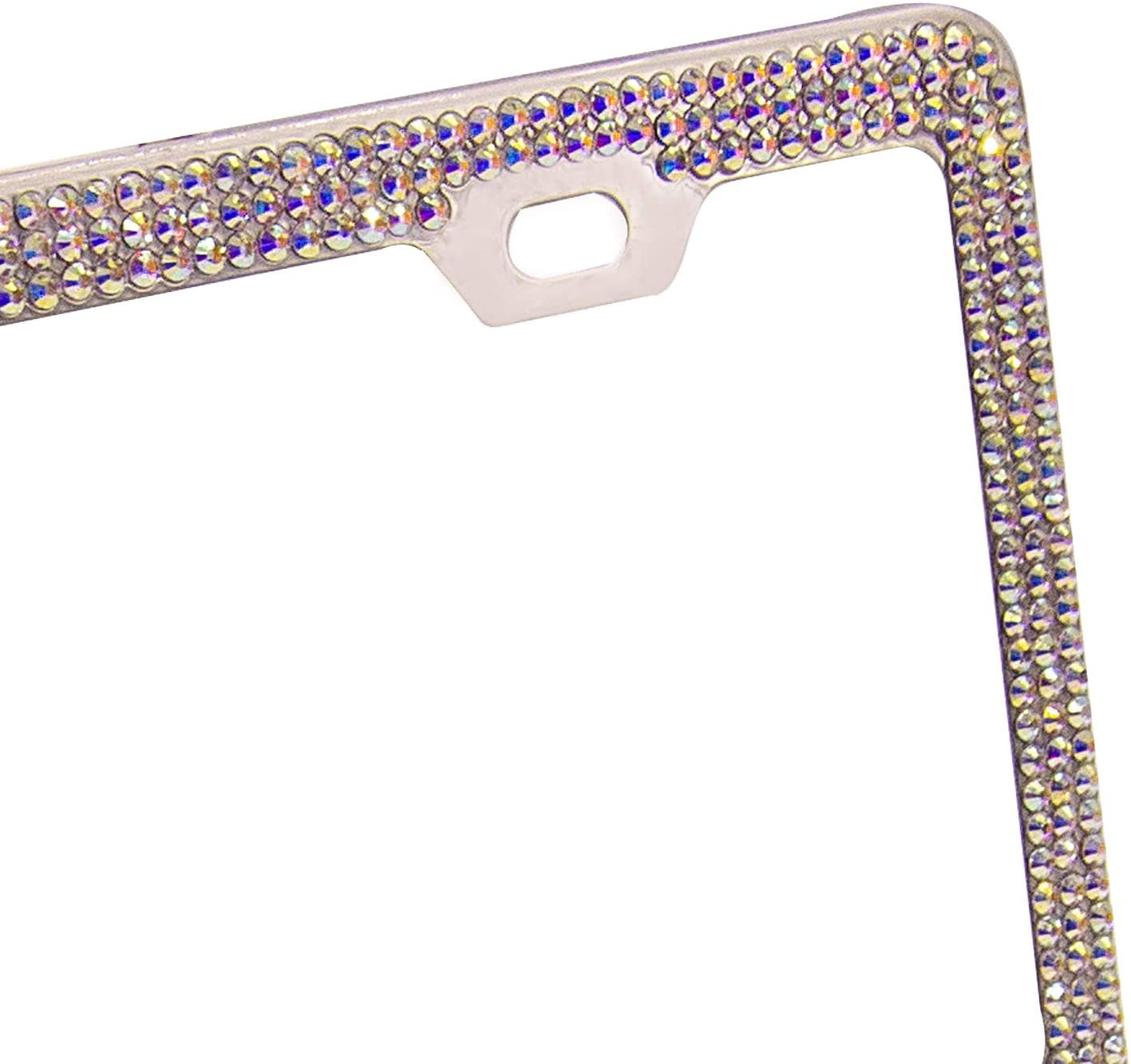 AB N//C License Plate Frame with Diamond Bling Rhinestones Stainless Steel with 2 Square Holes Sparkly Shiny Waterproof Handcrafted Crystal 2 Pack in 1 Luxury Gift Box