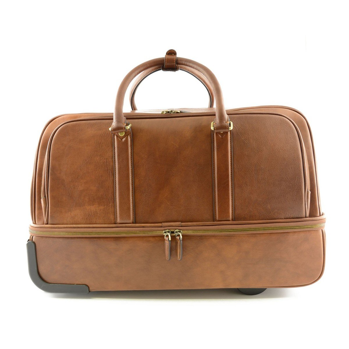 Made In Italy Leather Trolley Bag In With Laptop Sleeve Color Brown - Travel Bag B016NRX3M0
