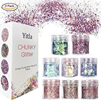 8 Boxes Face Glitter Chunky Glitter Faces and Bodies Cosmetic Ultra-thin Hexagons Glitter Paillette Sparkling Decoration Glitter Hair and Nails for Festival Christmas Paillette (8 pack)