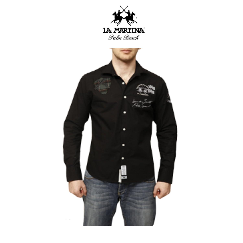 La martina-Camisa para hombre talla XXL, color negro: Amazon.es: Ropa y accesorios