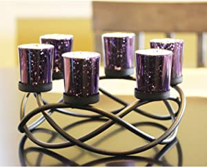 Seraphic Dining Table Tealight Candle Holder for Room Decor Centerpiece, Black, Purple Glass Votive 6 Cups