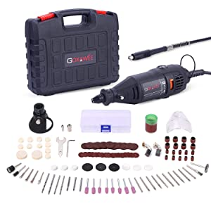 GOXAWEE Rotary Tool Kit (1.3amp) with MultiPro Keyless Chuck and Flex Shaft - 140pcs Accessories Variable Speed Electric Drill Set for Crafting Projects and DIY Creations