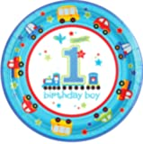 """Custom & Unique {10"""" Inch} 18 Count Multi-Pack Set of Large Size Round Circle Disposable Paper Plates w/ All Aboard Car Ride Road Trip Boy's 1st Birthday Party """"Blue, Red, Yellow & Green Colored"""""""