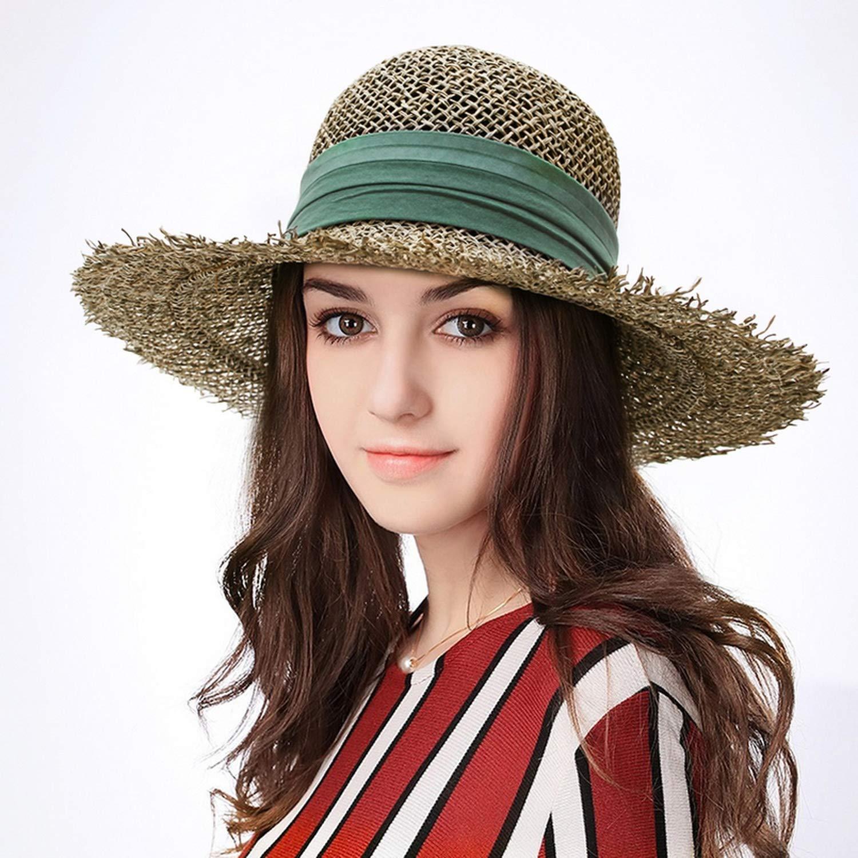 Ribbon Bowknot BSummer Hat for Women Hollow Hat Cloche Sun Hat Wide Brim Beach Cap