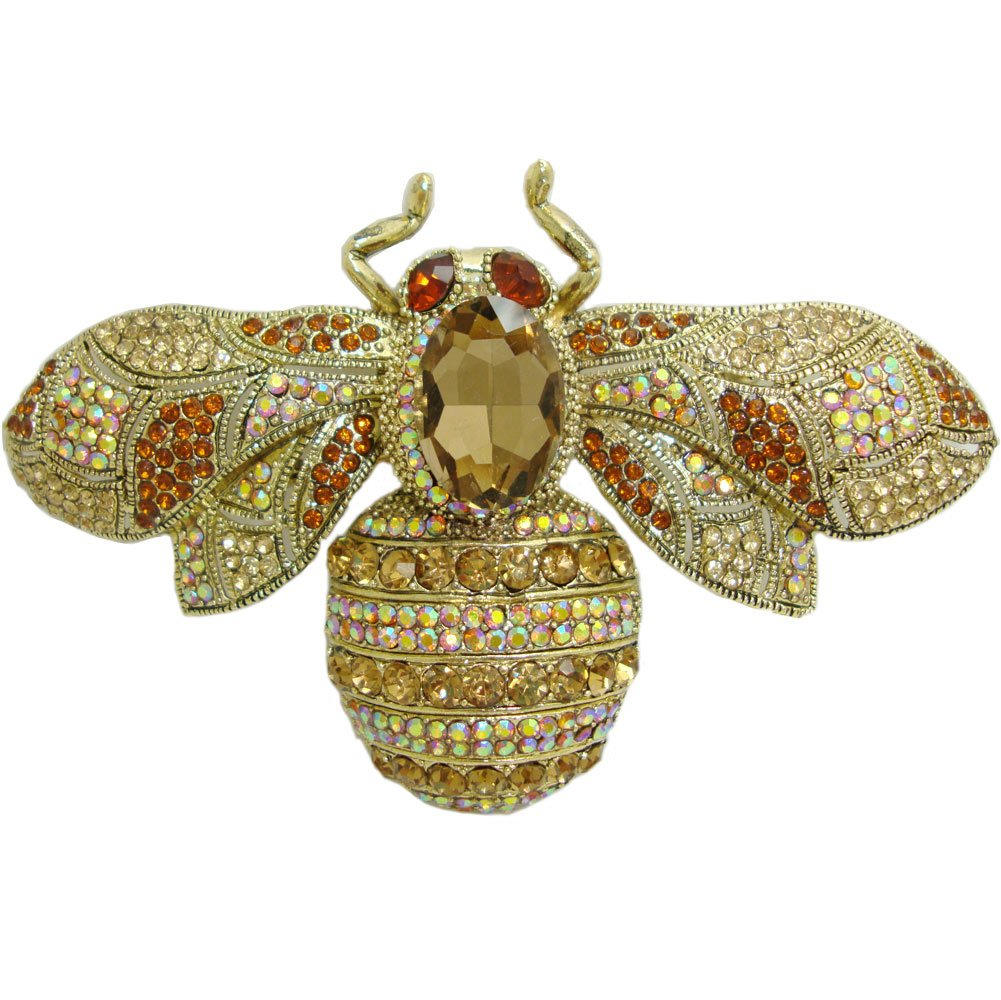 TTjewelry Charming Bee Insect Brooch Pin Austria Crystal Rhinestone (Brown)